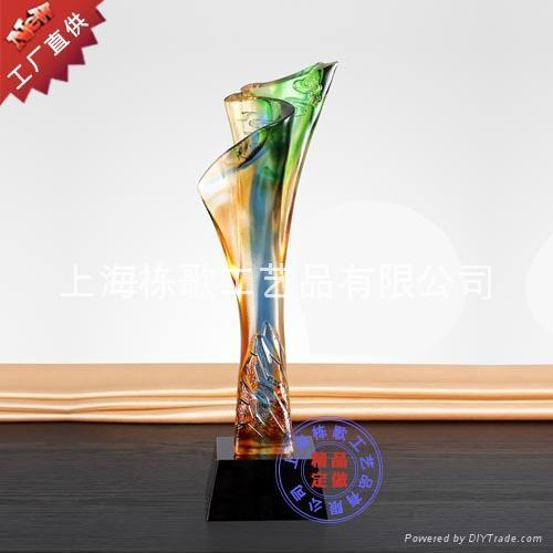 上海个性定做高档琉璃奖杯 4