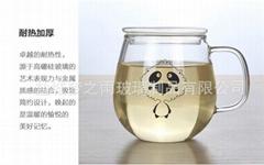 熊猫带把牛奶杯