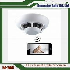 UFO wifi smoke detector camera mini spy cameras Full HD 1080P IP / P2P smoke det