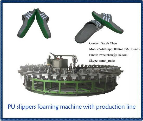 semiautomatic pu footwear slipper injection production line 3