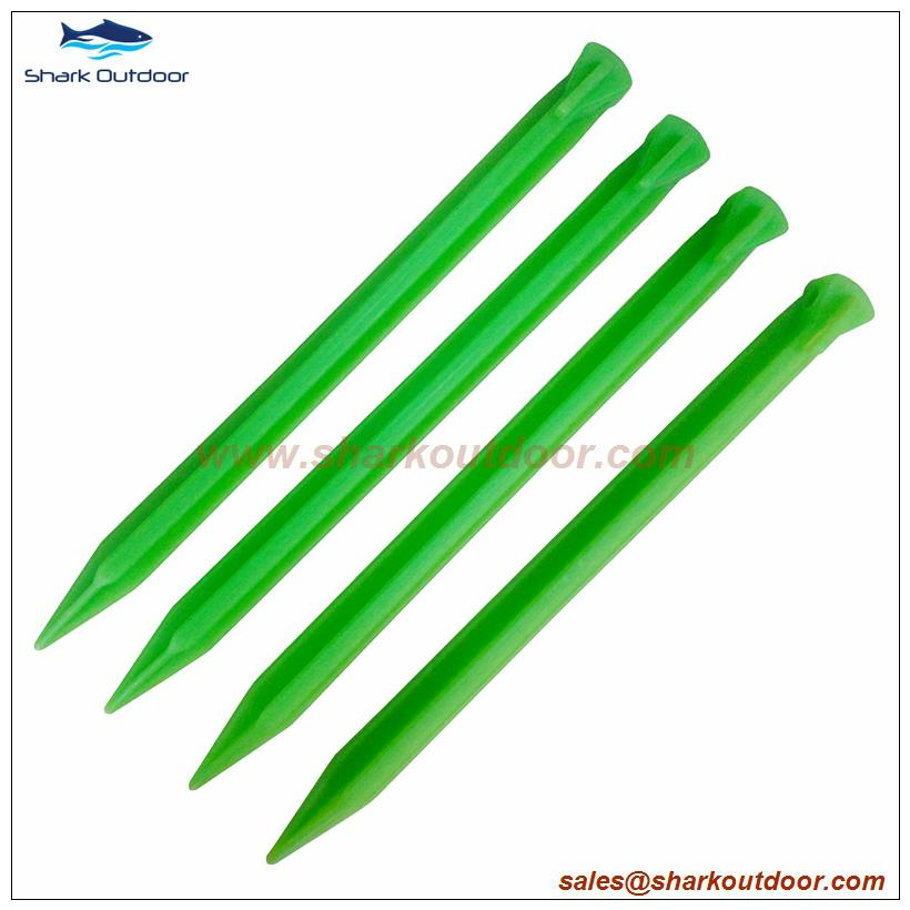 """PP or ABS plastic tent stake for camping accessory 12"""" 3"""