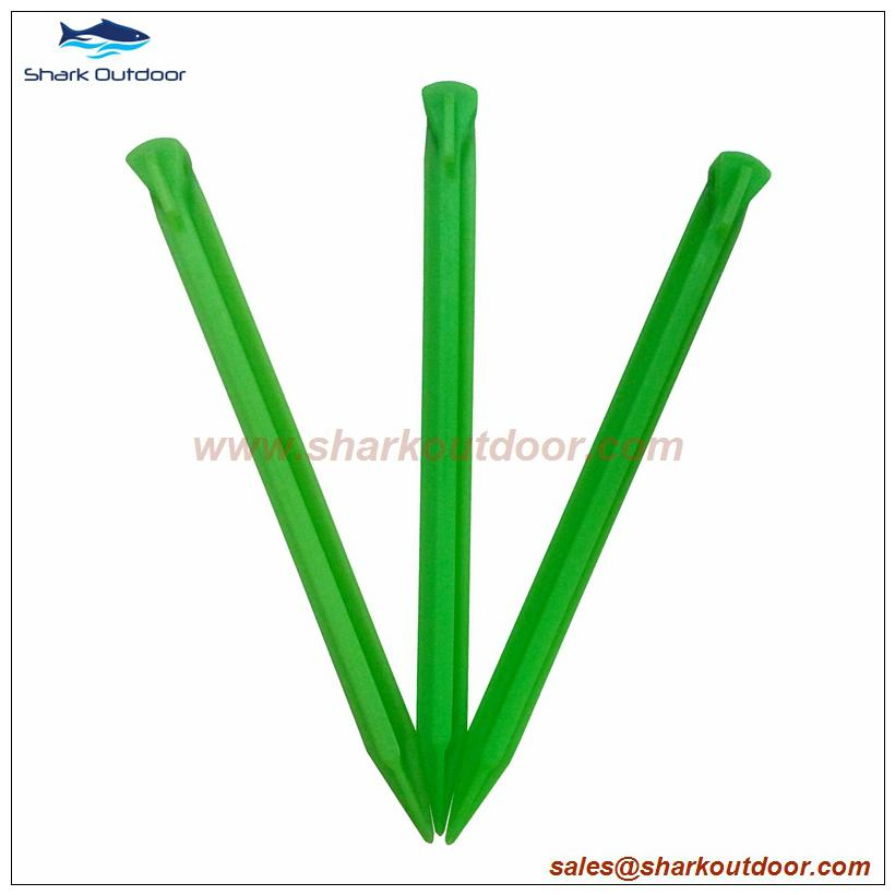 """PP or ABS plastic tent stake for camping accessory 12"""" 4"""