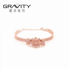 Rose gold color bangle, Brillant flower latest Design women gender bangle