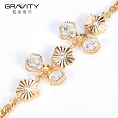 best selling dubai bow tie and flower shape brass gold plated 18/24k bracelet