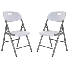 White Blow Mold Plastic Folding Chair