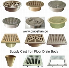 Bronze, Nickel Bronze Square and Round Cast Iron Floor Drain Strainer