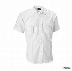 男式白色短袖工作襯衣