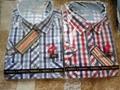 polyester cotton men check shirt for