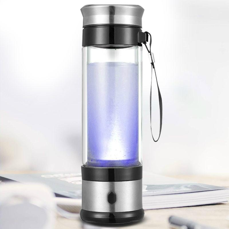 450ml Portable Hydrogen Rich Water Ionizer Transparent Water Glass with Lid High 2