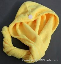 Plain solid color microfiber hair turban drying towel
