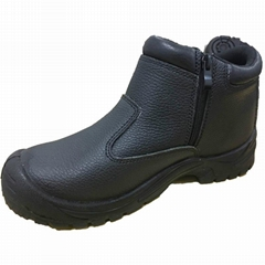 Middle Cut Black Emboss Leather Steel Toe Safety Shoes