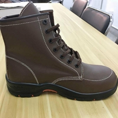 high cut genuine leather upper steel toe and plate safety shoes