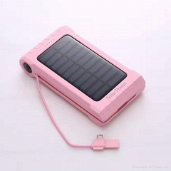 Built-in cable mobile phone solar power bank with compass and thermometer