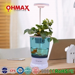 OHMAX Smart Self-cleaning Aquaponics Fish Tank With Hydroponic Pot & Desk Lamp