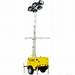 Diesel Generator Trailer Type Lighting Tower with IP65 floodlights