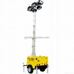 Diesel Generator Trailer Type Lighting Tower with IP65 floodlights
