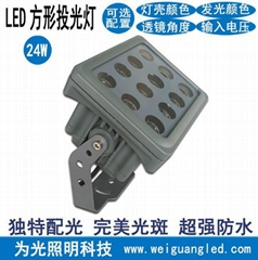 LED方形投光燈籃球場照明戶外照牆超遠射灌膠防水