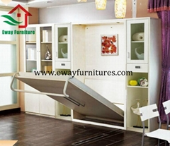 Double Wall Bed Modern Transformable Bedroom Space Saving Furniture Folding Bed