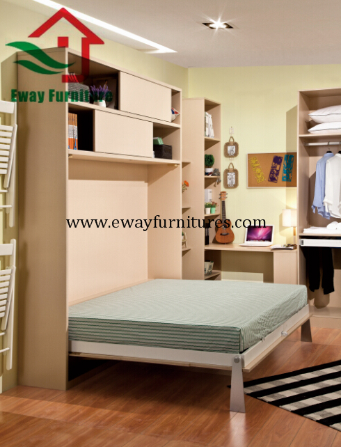 Save Space Bedroom Furniture Murphy Bed Folding Wall Bed with Movable Corner Des 3