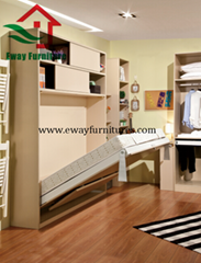 Save Space Bedroom Furniture Murphy Bed Folding Wall Bed with Movable Corner Des