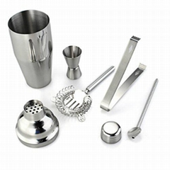 5-pieces stainless steel cocktail shaker set with gift box packing