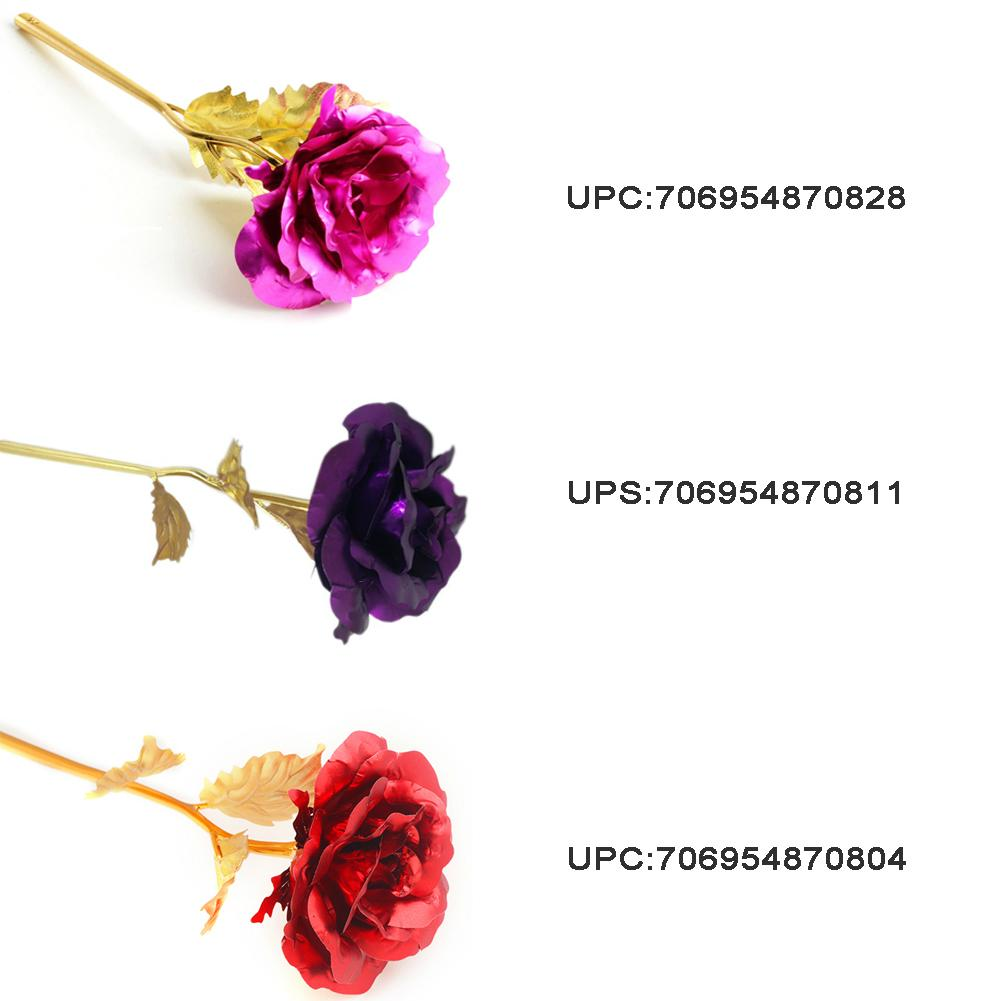 24K Golden Flower Christmas Present Valentine Rose Wedding Accessory 2