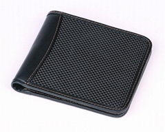 Hot Sell Men's Genuine Leather Carbon Fiber ID Credit Card Long Holder Wallet
