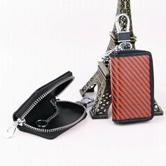Carbon Fiber RFID blocking Business Card Card Wallet Key Chain Key Ring Key Bag