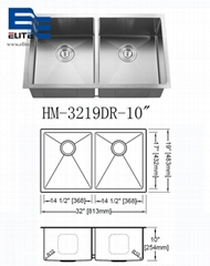 2 Bowl 2 hole Stainless Steel Kitchen Sinks