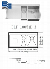 Stainless Steel Sink with drainboard double bowl