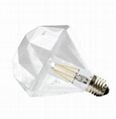 Diamond LED filament light bulbs