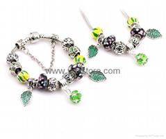 925 bracelet Crystal bracelet,Fashion large pore glass beads set