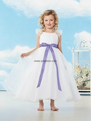 Purple Sash Tank Top Ankle Length A Line White Flower Girl Dress