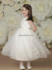 Organza Scoop Ankle Length Ball Gown Flower Girl Dress With Embroidery