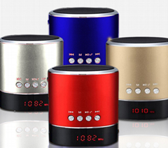 Metal Housing Crystal Clear Sound Cylindrical Mini LED Display Bluetooth Speaker