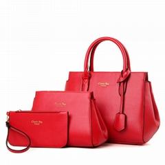 2017 Luxury Elegant Female Big Bags Womens PU Leather Purses Handbags 3 Pcs Set