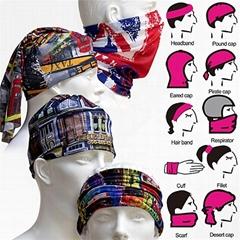 宁波景余针织帽子围巾手套工厂印花运动防晒透气遮面巾头巾头带