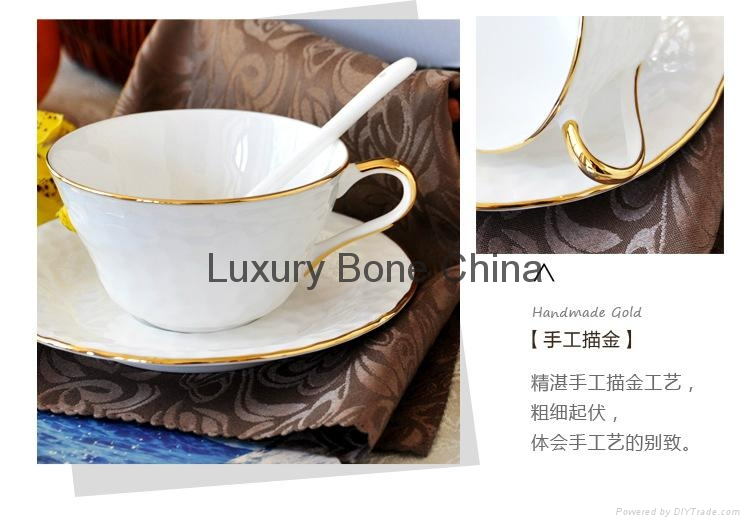 White Fine Bone China Cup and Saucer Set Coffee Set Tea Set Wholesale 3