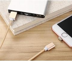 蘋果7安卓磁吸數據線 三星小米華為通用2A編織盲插磁性磁力充電線