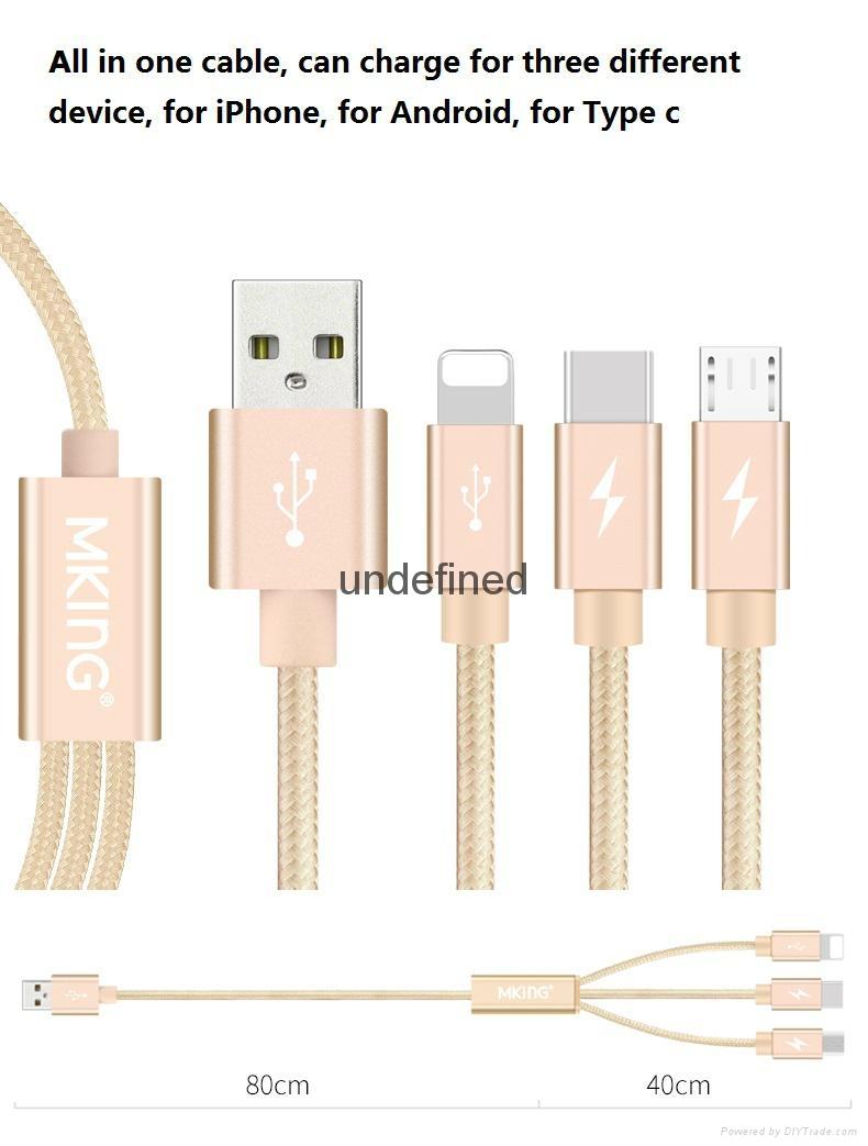 一拖三多功能数据线iPhone5s 6多头安卓乐视type-c充电线器 10