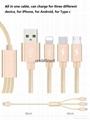 3-in-1 Multi-function nylon braided usb