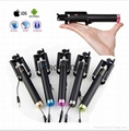 2017 Popular Wired Foldable Mini selfie stick with cable for smart phones