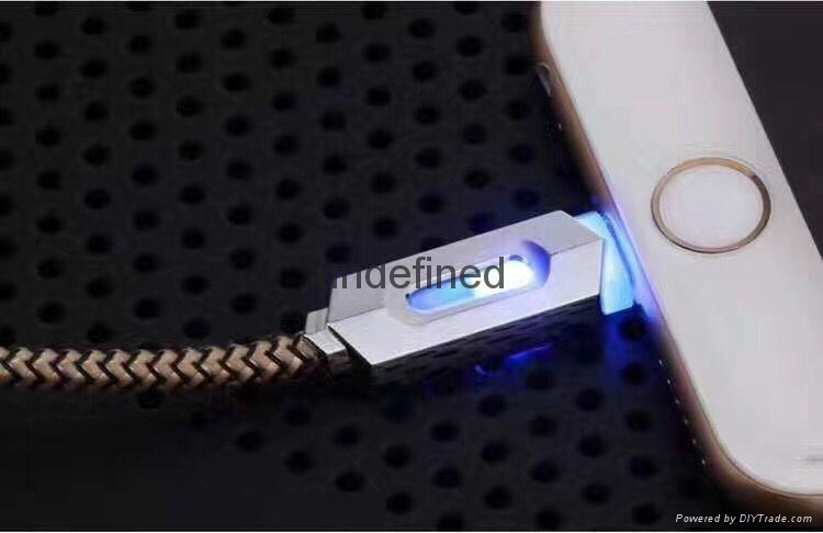 New fashion smart quick charging led usb lighted nylon braided cable for iphone  4