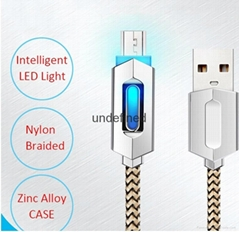 New fashion smart quick charging led usb lighted nylon braided cable for iphone
