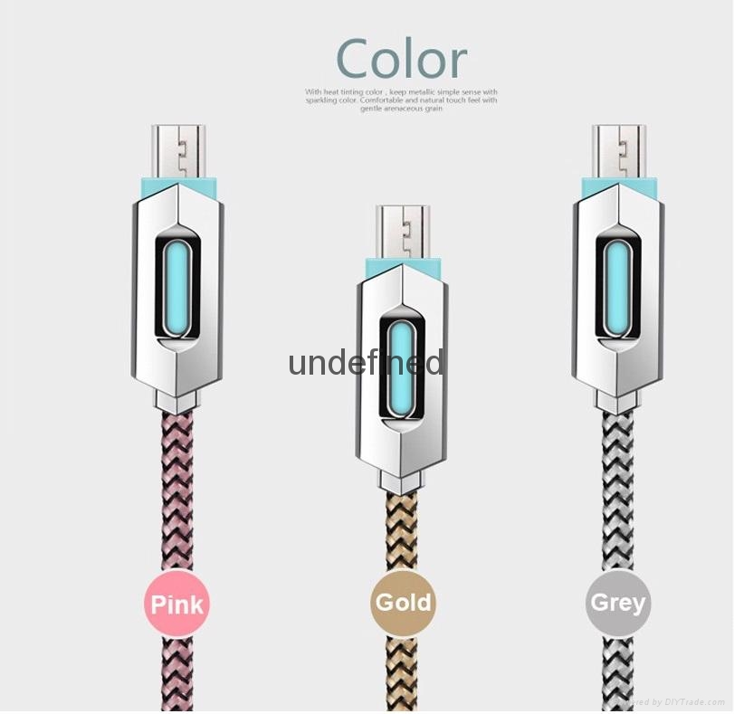 New fashion smart quick charging led usb lighted nylon braided cable for iphone  3