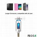 New fashion smart quick charging led usb lighted nylon braided cable for iphone  9