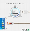 New fashion smart quick charging led usb lighted nylon braided cable for iphone  10