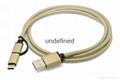 3.3F Nylon Braided Charge & Sync Cable with Type C and Micro 2-in-1 Connector
