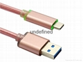 3.3F Nylon Braided 2017 new cable type c  metal shell led usb charging cable