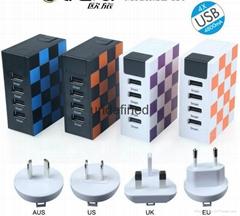 Universal EU UK US Plug 4 USB Ports Charging Adapter Travel Wall Charger 5V 4.8a